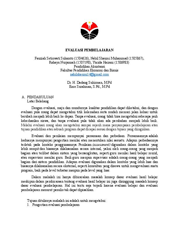 Doc Makalah Evaluasi Pembelajaran Fauziah Sukamto And Yucida Hairani Academia Edu