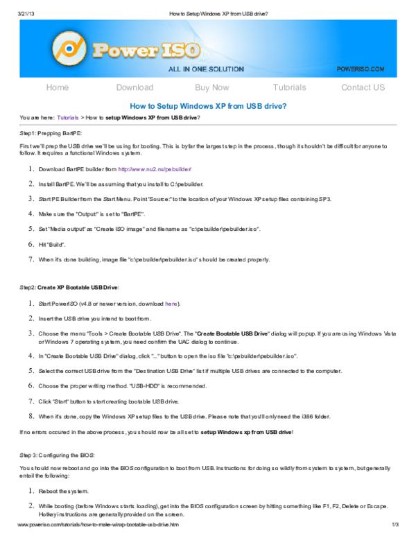 PDF) How to Setup Windows XP from USB drive? How to Setup