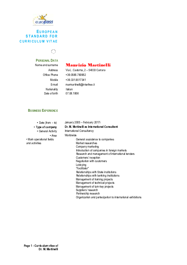 PDF) CVMMEuropeoING pdf | Maurizio Martinelli - Academia edu