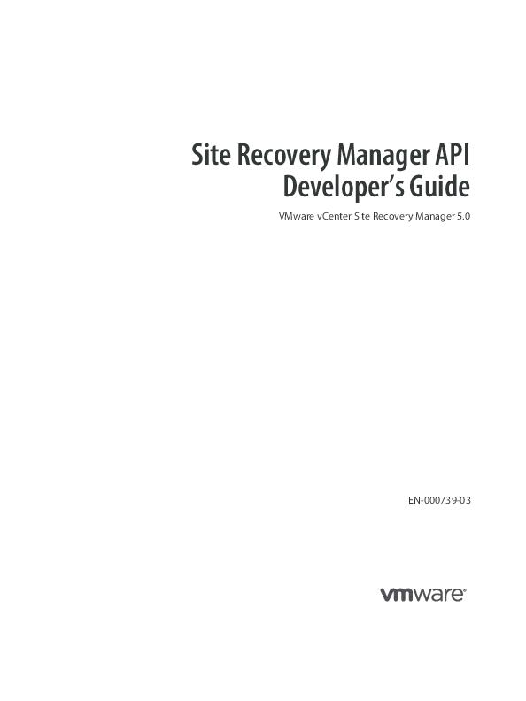 PDF) Site Recovery Manager API Developer's Guide