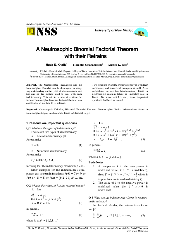 PDF) A Neutrosophic Binomial Factorial Theorem with their