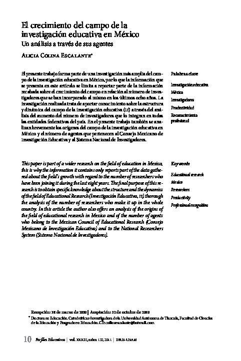 PDF) El Crecimiento del campo de la investigacion educativa en ...