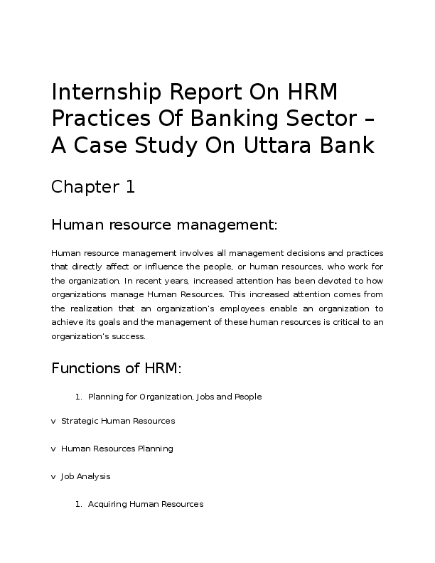 DOC) Internship Report On HRM Practices Of Banking Sector – A Case