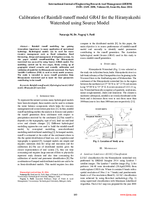 PDF) Calibration of Rainfall-runoff model GR4J for the