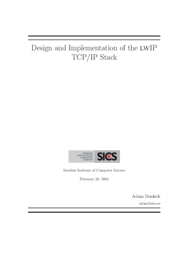 PDF) Design and Implementation of the lwIP TCP/IP Stack | H J  Shin
