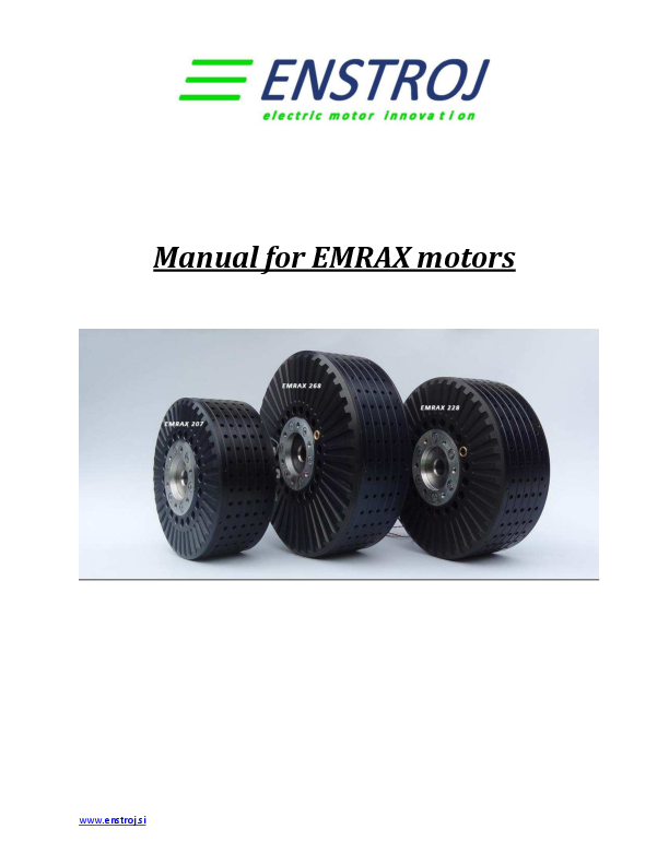 PDF) Manual for EMRAX motors | Kostia J  - Academia edu