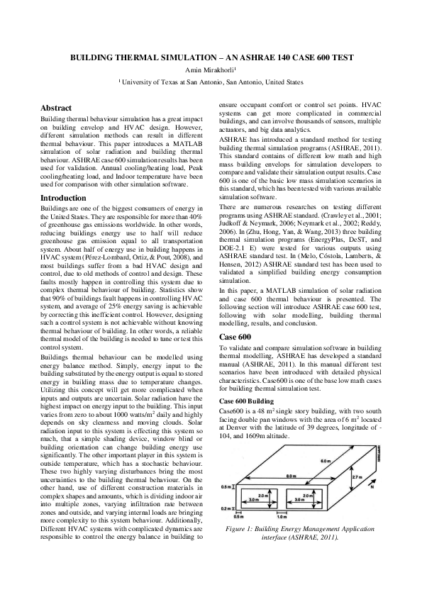 PDF) Building simulation Matlab ASHRAE600 pdf | Amin Mira