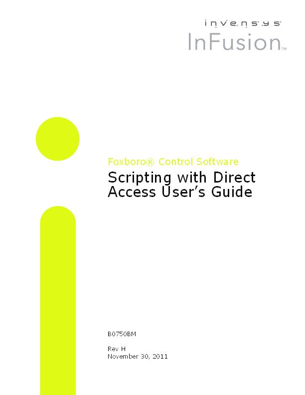 PDF) Foxboro® Control Software Scripting with Direct Access User's