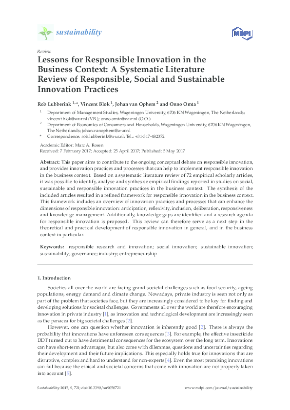 PDF) Lessons for Responsible Innovation in the Business Context: A