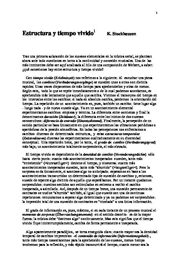 Pdf K Stockhausen Estructura Y Tiempo Vivido Fº Javier