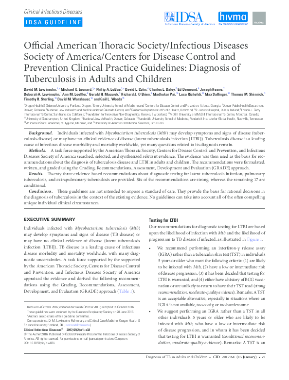 PDF) Clinical Infectious Diseases Official American Thoracic ...