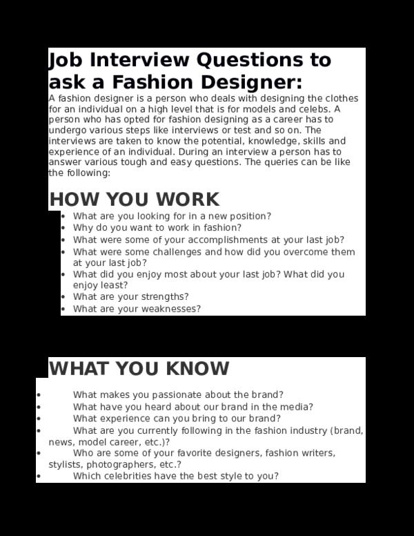 Doc Job Interview Questions To Ask A Fashion Designer Nargis Eva Academia Edu