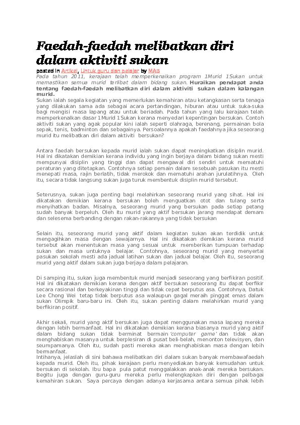 Doc Faedah Faedah Melibatkan Diri Dalam Aktiviti Sukan Abbas Harun Academia Edu