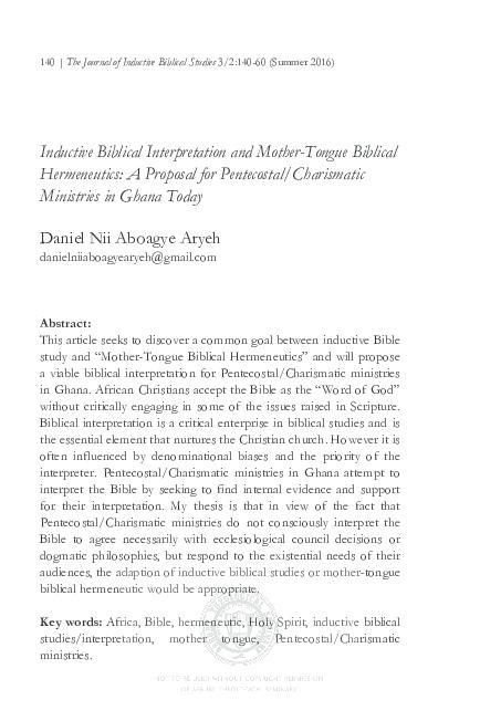 PDF) Inductive Biblical Interpretation and Mother-Tongue Biblical