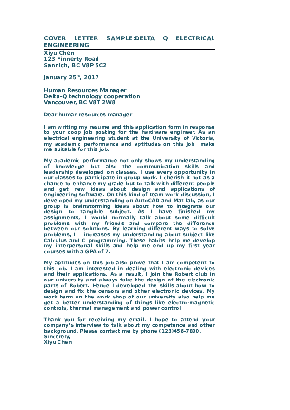 DOC) COVER LETTER SAMPLE:DELTA Q ELECTRICAL ENGINEERING ...