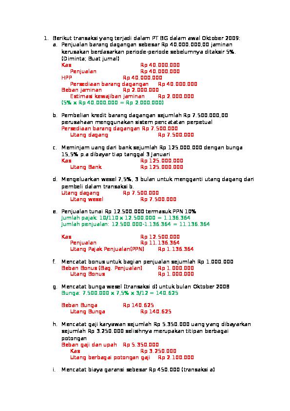 Contoh Soal Utang Dan Jawabannya
