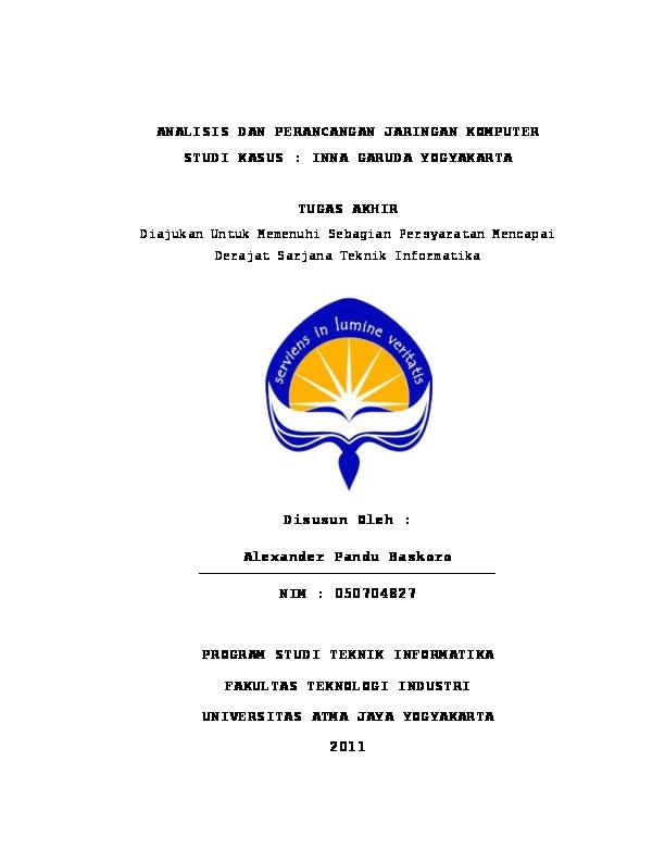 Pdf Analisis Dan Perancangan Jaringan Komputer Studi Kasus Inna Garuda Yogyakarta Tugas Akhir Disusun Oleh Arif Yusuf Budiman Academia Edu