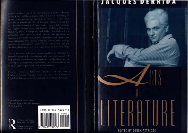 PDF) Derrida - Acts of Literature | Gabriela Niculescu