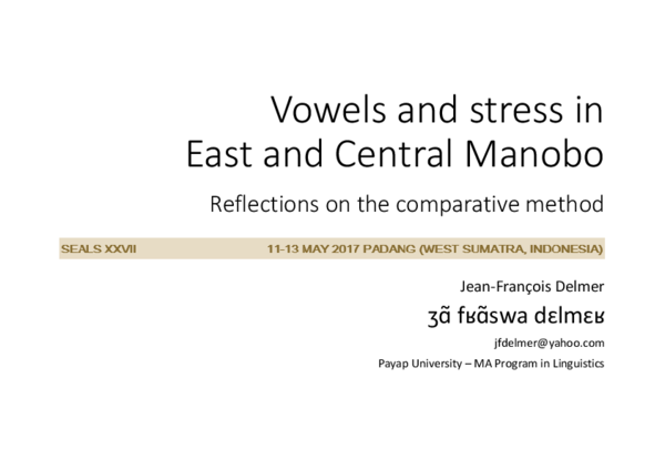 PDF) Vowels and stress in East and Central Manobo | Jean-Francois