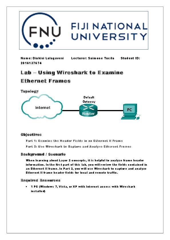 DOC) Lab – Using Wireshark to Examine Ethernet Frames
