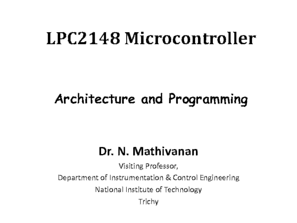PDF) LPC2148 Microcontroller Architecture and Programming