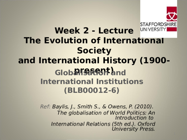PPT) Evolution of International Society & International History | T