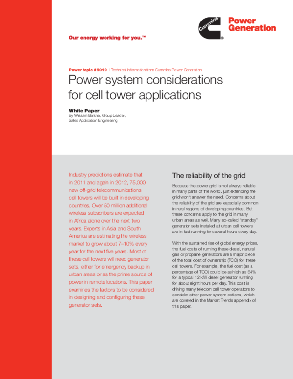 PDF) Power system considerations for cell tower applications