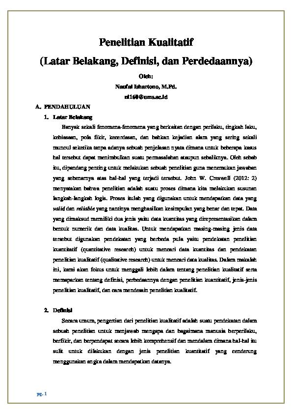 Pdf Penelitian Kualitatif Latar Belakang Definisi Dan Perbedaanya Naufal Ishartono Academia Edu