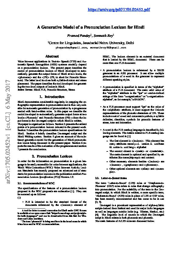 PDF) A Generative Model of a Pronunciation Lexicon for Hindi