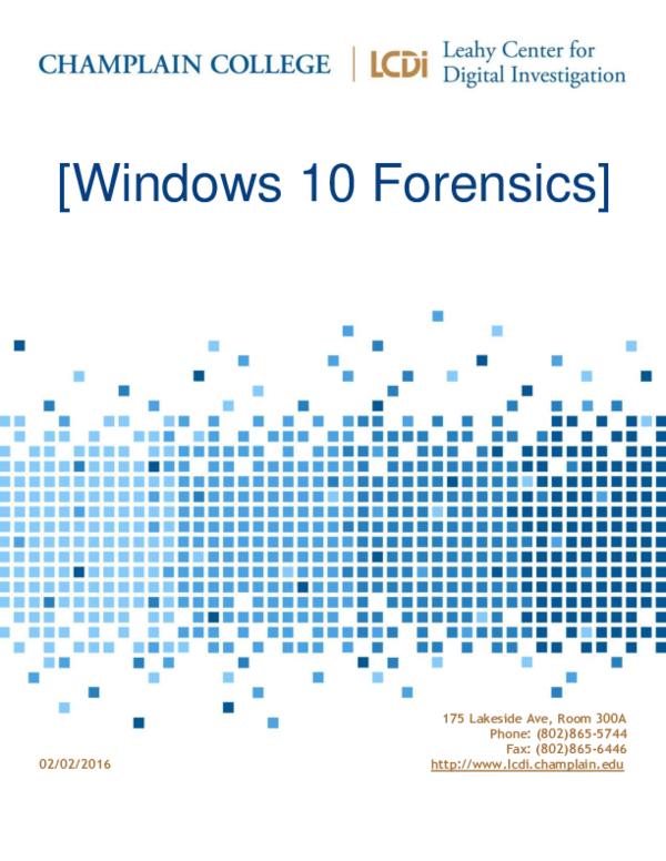 PDF) Windows 10 Forensics Part   DEEPTI ARORA - Academia edu