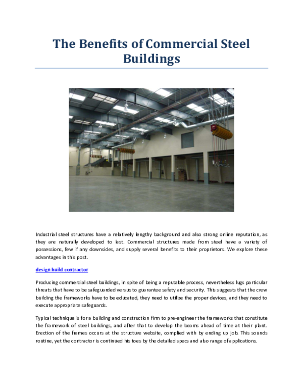 PDF) The Benefits of Commercial Steel Buildings | Curt