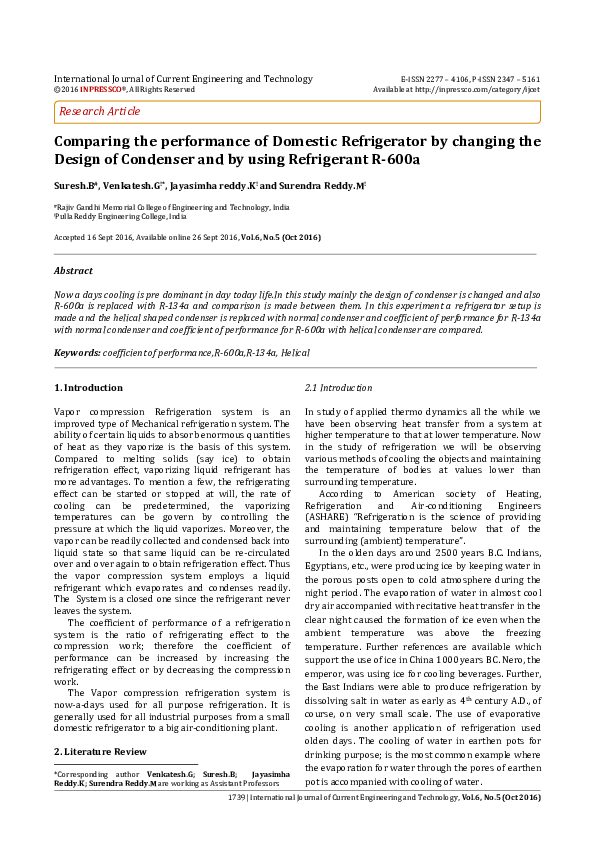 PDF) Comparing the performance of Domestic Refrigerator by changing