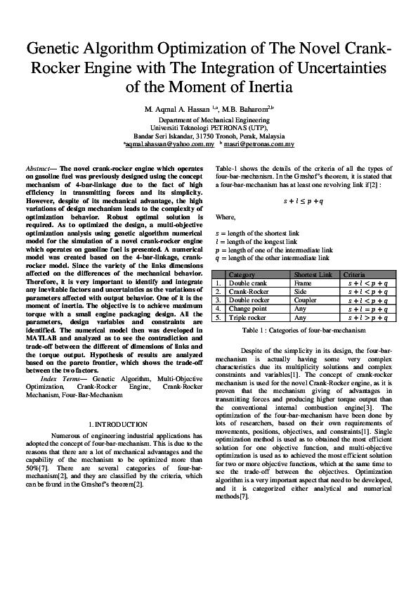 PDF) Genetic Algorithm Optimization of The Novel Crank- Rocker