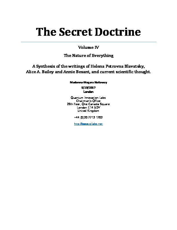 PDF) The Secret Doctrine Volume IV, The Nature of Everything