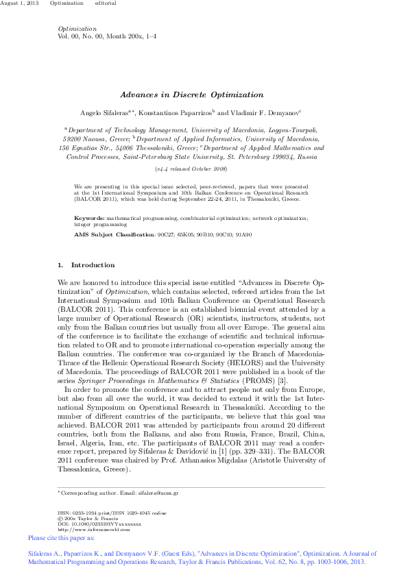 PDF) Advances in Discrete Optimization | Angelo Sifaleras