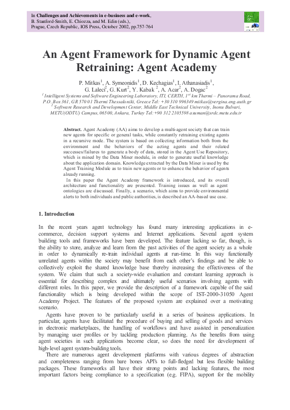 PDF) An agent framework for dynamic agent retraining: Agent