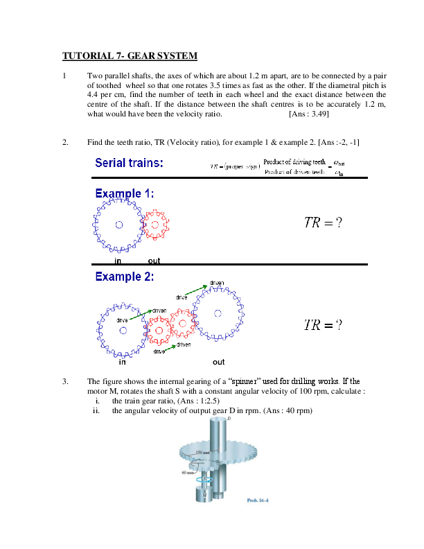 PDF) TUTORIAL 7-GEAR SYSTEM | Calvin Soh - Academia edu