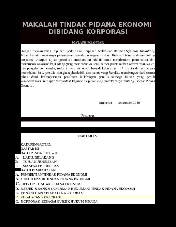 Doc Makalah Tindak Pidana Ekonomi Arief Setyawan Academia Edu