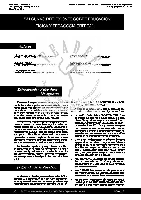 (PDF) Algunas reflexiones sobre educación física y