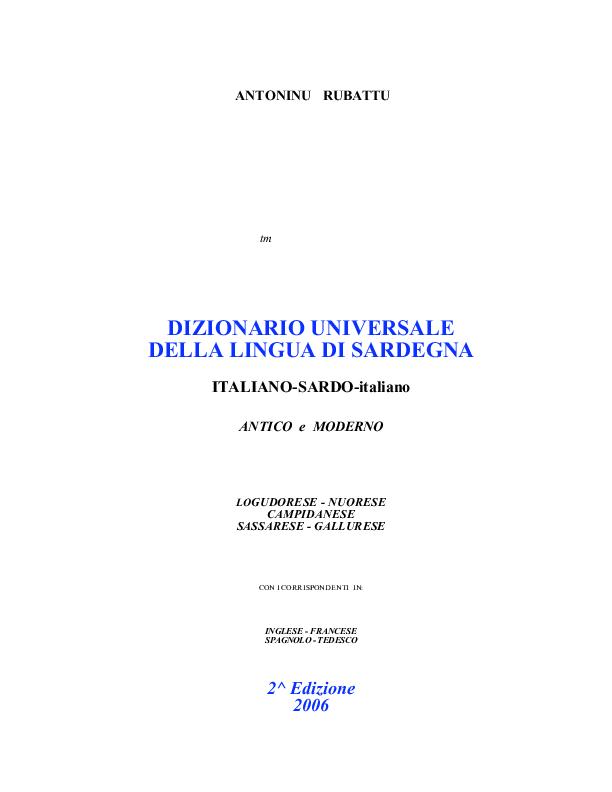Pdf Ditzionario De Limba Sarda Vol 1 Alessandra Cocca