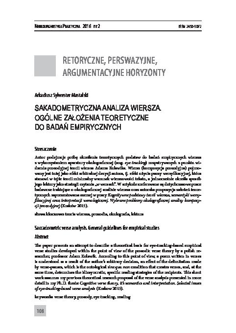 Pdf Sakadometryczna Analiza Wiersza Ogólne Założenia
