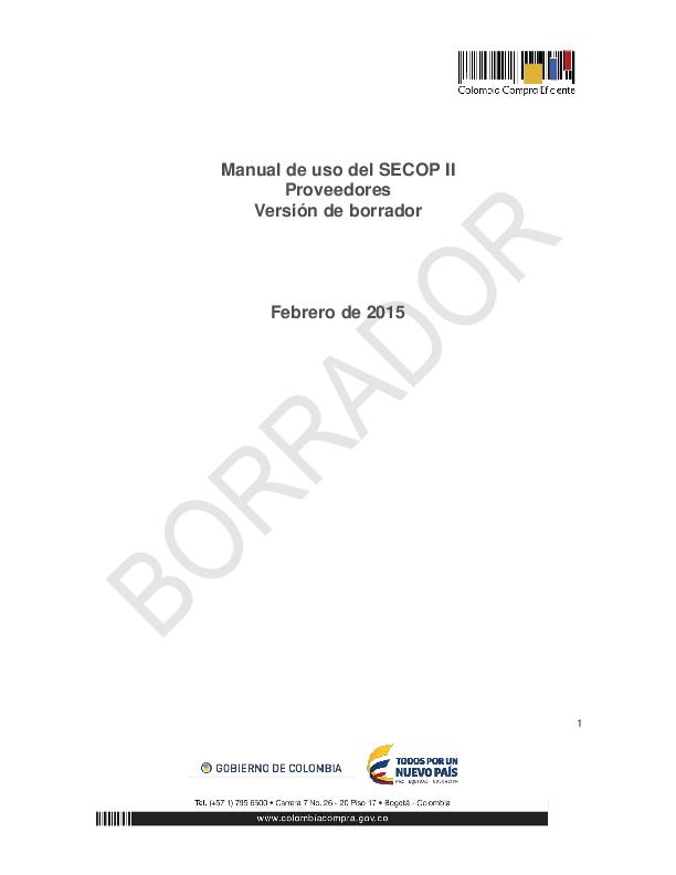 (PDF) Manual de uso del SECOP II Proveedores Versión de