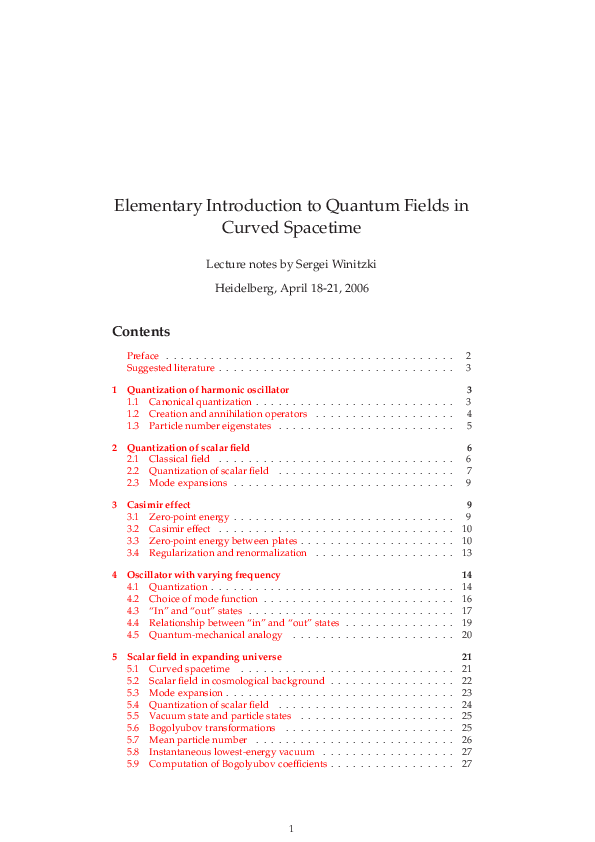 PDF) Elementary Introduction to Quantum Fields in Curved Spacetime