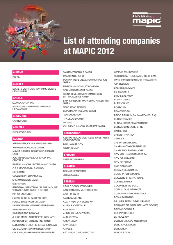 Pdf List Of Attending Companies At Mapic 2012 Albania Balfin
