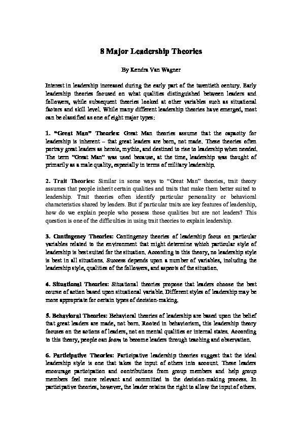 PDF) 8 Major Leadership Theories | Khadija Bayramli