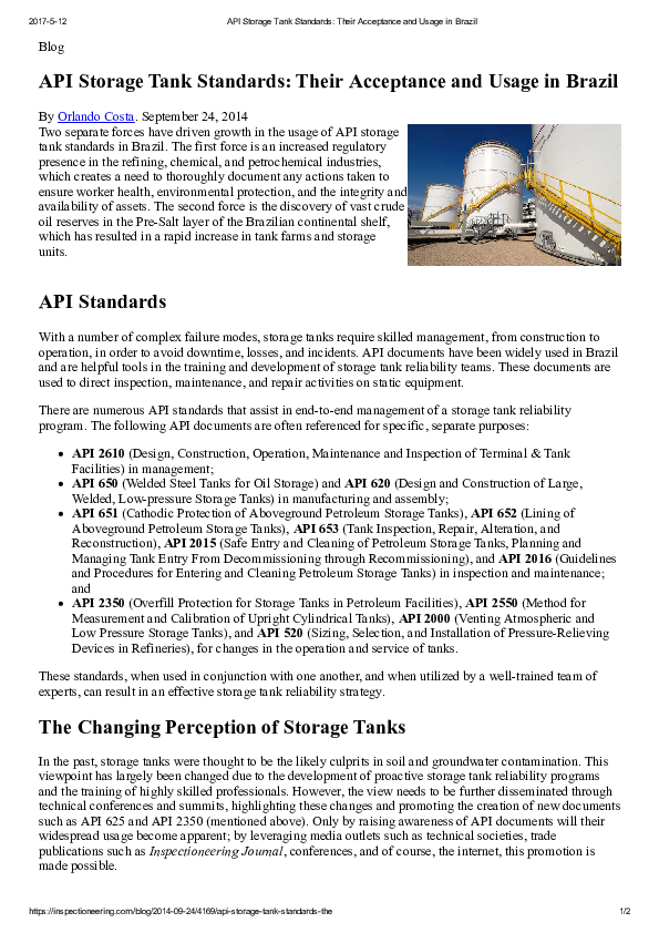 PDF) API Storage Tank Standards: Their Acceptance and Usage in