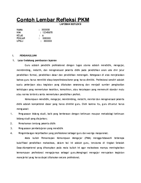 Doc Contoh Lembar Refleksi Pkm Nurjannah Saja Academia Edu