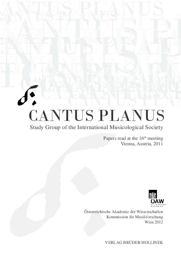 PDF) CANTUS PLANUS Vienna/ Austria, 2011, August 21-27