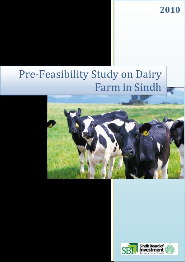PDF) Pre-Feasibility Study on Dairy Farm in Sindh | Amit