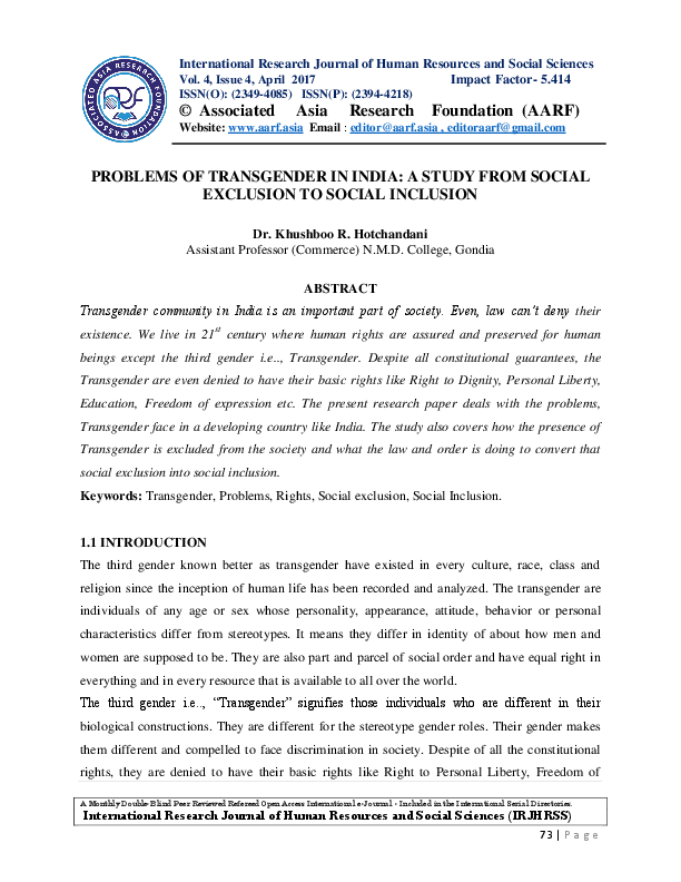 Problems Of Transgender In India A Study From Social Exclusion To  Pdf Science Vs Religion Essay also The Thesis Statement Of An Essay Must Be  Custom Term Projects